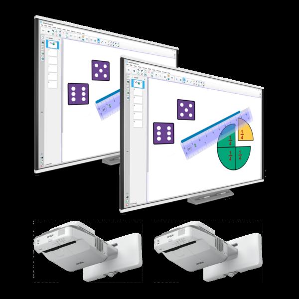 2 x Tablica interaktywna SMART SBM787V + 2 x projektor ultrakrótkoogniskowy Epson EB-685W